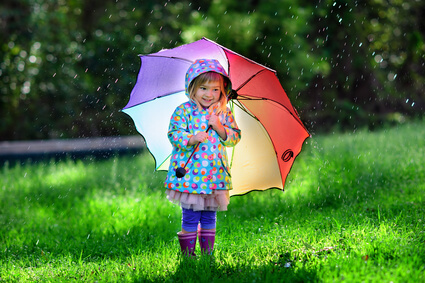 cute toddler girl wearing waterproof coat