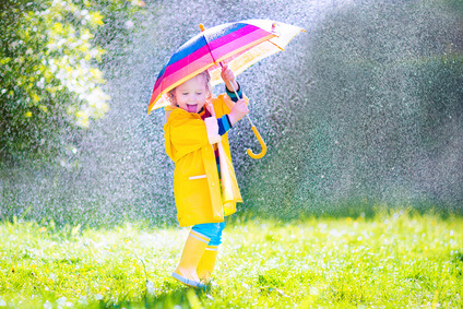 toddler with umbrella